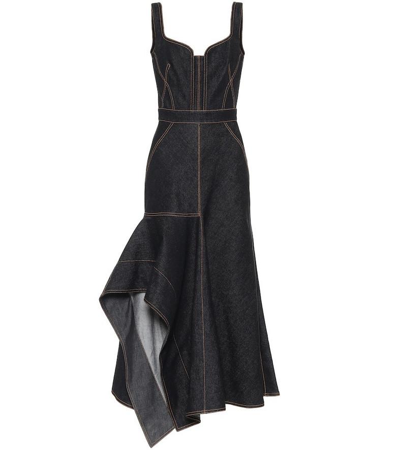 Alexander McQueen Asymmetric denim midi dress in black