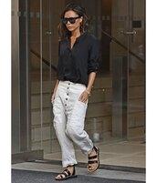 top,black shirt,victoria beckham,cargo pants,black sandals,flat sandals