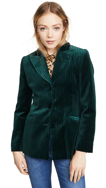 Alexa Chung Single Breasted Jacket in green