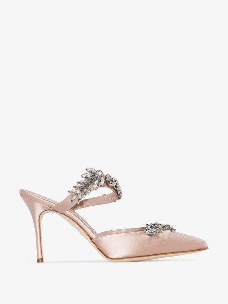 Manolo Blahnik nude Lurum 90 satin crystal mules in neutrals