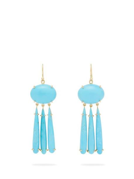 Irene Neuwirth - 18kt Gold & Turquoise Drop Earrings - Womens - Blue