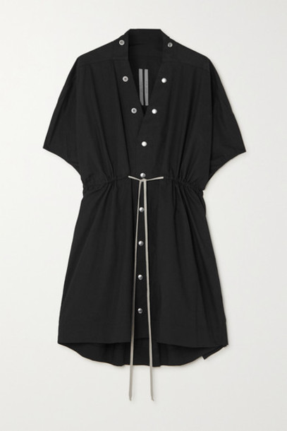 Rick Owens - Sail Tie-detailed Cotton-poplin Mini Dress - Black