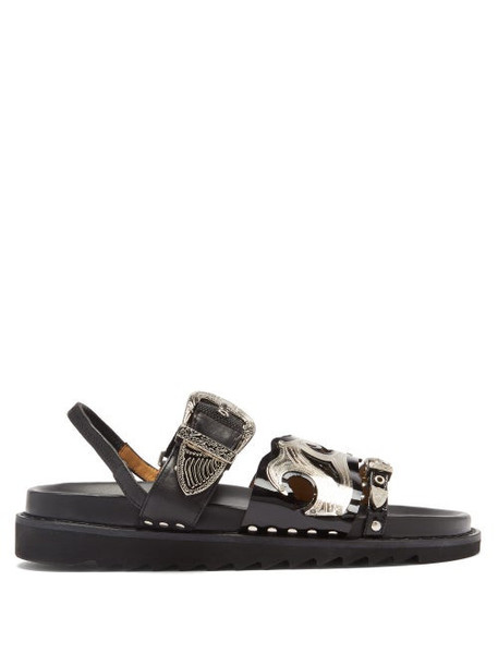 Toga - Triple-strap Leather Sandals - Womens - Black
