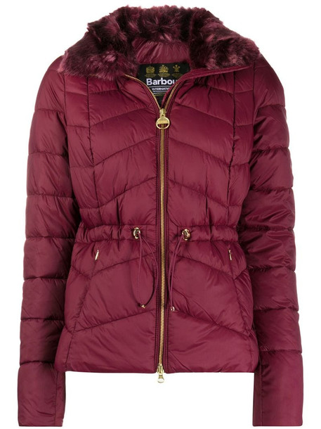 Barbour quilted puffer jacket in red
