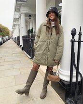 jacket,oversized jacket,knee high boots,turtleneck,bag,bucket hat