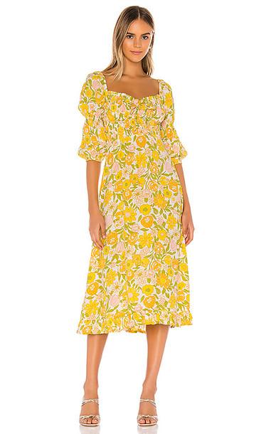 FAITHFULL THE BRAND Nora Midi Dress in Yellow