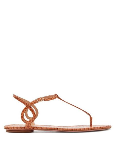 Aquazzura - Almost Bare Crocodile Embossed Leather Sandals - Womens - Tan