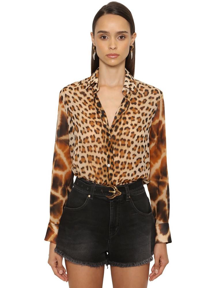 ROBERTO CAVALLI Animalier Printed Silk Georgette Shirt in leopard