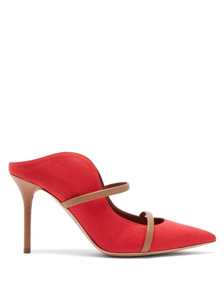 Malone Souliers - Maureen Linen And Leather Mules - Womens - Red