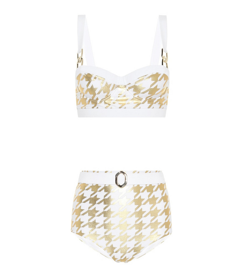 Balmain Exclusive to Mytheresa – Houndstooth-printed bikini in gold
