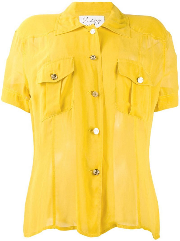 Moschino Pre-Owned 1990's shortsleeved sheer shirt in yellow