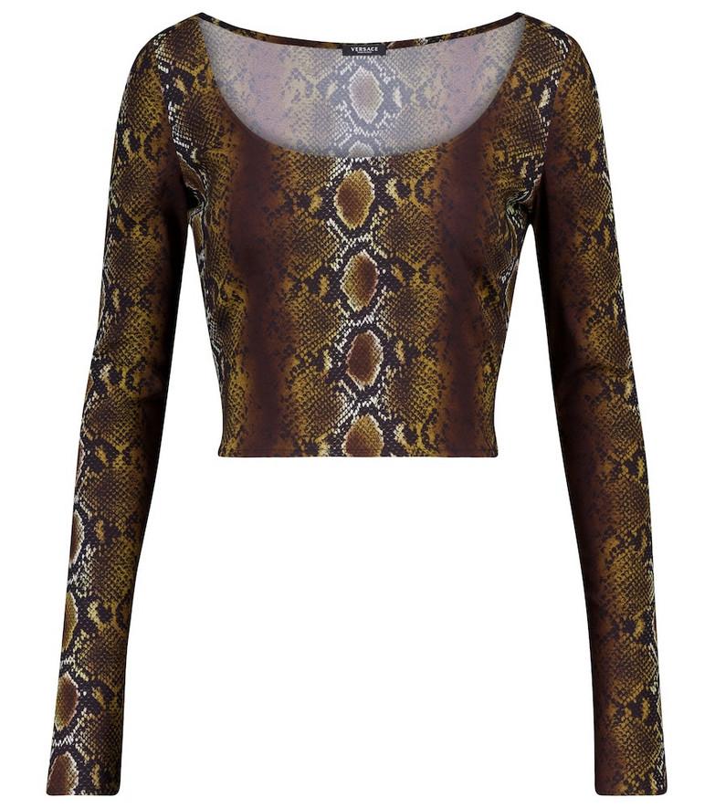 Versace Snake-print crop top in brown