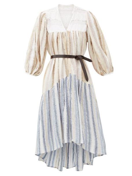 Love Binetti - Only Yesterday Waterfall-hem Striped Cotton Dress - Womens - Blue Stripe