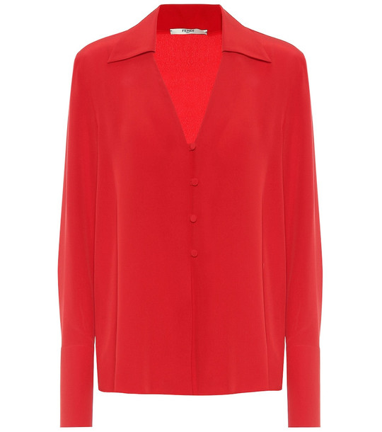 Fendi Silk-crêpe blouse in red