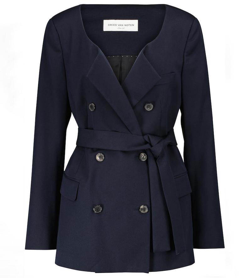 Dries Van Noten Belted double-breasted blazer in blue