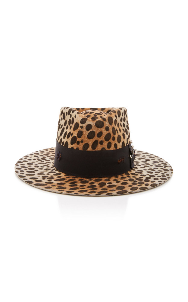 Nick Fouquet Lynx Printed Ribbon-Trimmed Felt Hat Size: 6 7/8 in brown