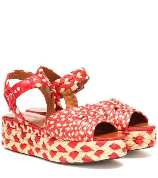Clergerie Artemis raffia platform sandals in red