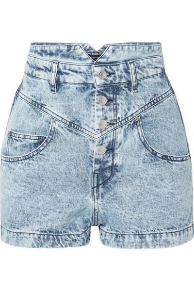 1555b049da1 Isabel Marant Lucio high-rise denim shorts in grey - Wheretoget