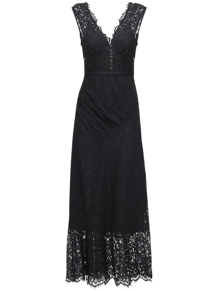 SELF-PORTRAIT Sleeveless Buttoned Cord Lace Midi Dress in black