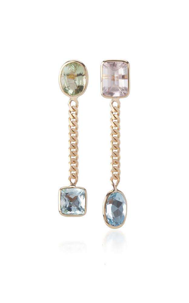Objet-a Curb Chian Aquamarine and Morganite Earrings in multi