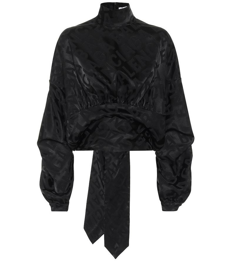 Balenciaga Upside Down satin-jacquard blouse in black