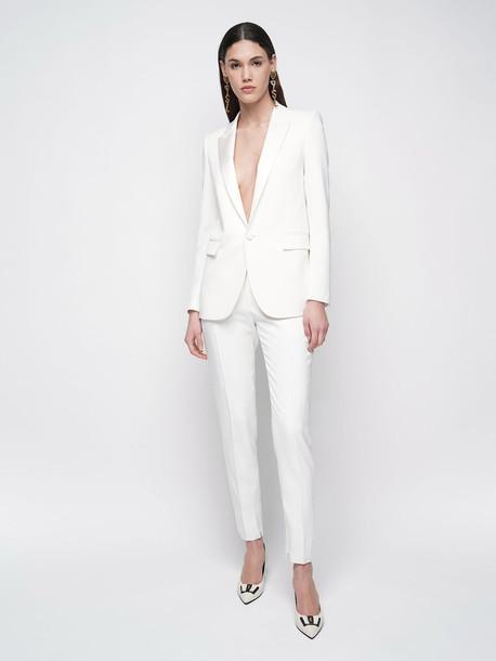 SAINT LAURENT Wool Straight Leg Pants in white