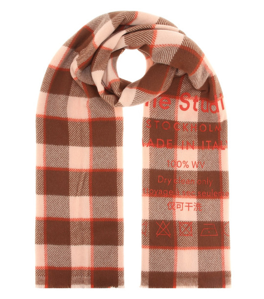 Acne Studios Checked wool scarf in brown