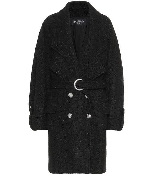 Balmain Wool-blend coat in black
