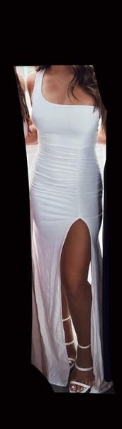 dress,white dress,one shoulder,leg slit,long dress,formal dress,prom dress