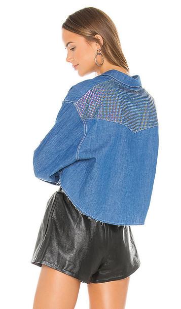 Frankie B Chiara Crystals Cropped Denim Shirt