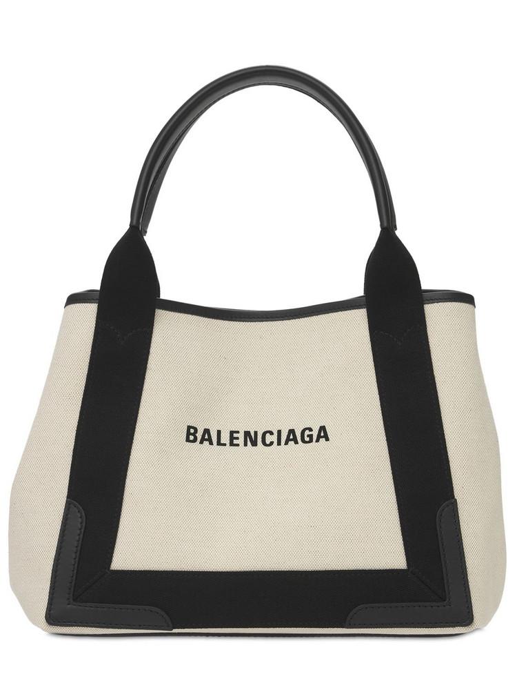 BALENCIAGA Sm Navy Cabas Cotton Canvas Bag in black / natural