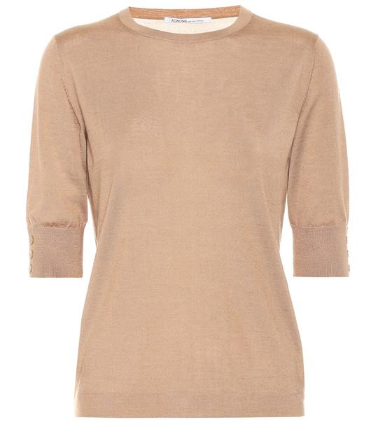 Agnona Cashmere and silk sweater in beige