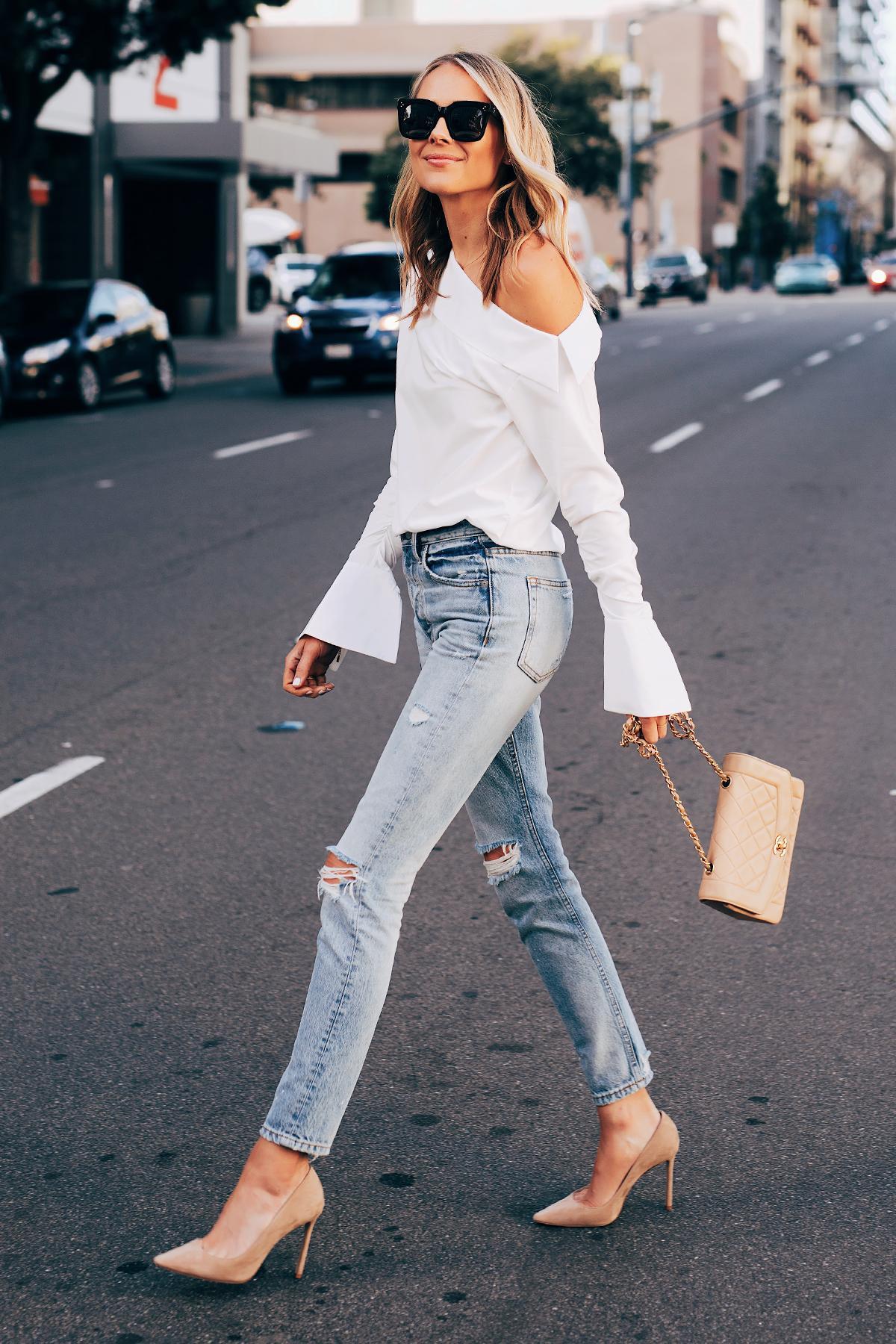 fashionjackson blogger top blouse white blouse ripped jeans skinny jeans pumps bag black sunglasses