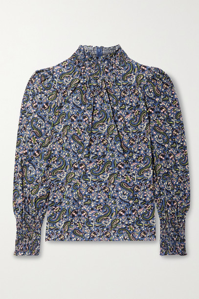 VERONICA BEARD - Gaia Shirred Paisley-print Cotton-poplin Blouse - Blue