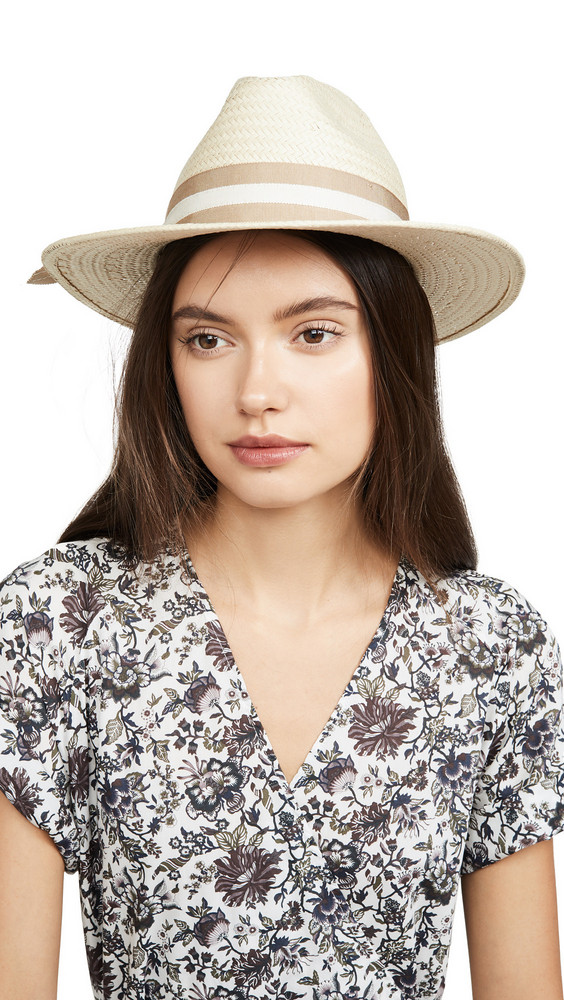Madewell Classic Flat Brim Straw Hat with Ribbon in natural