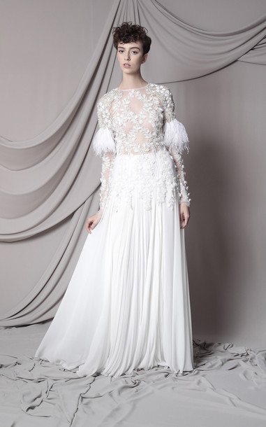 Marco & Maria Feather Embellished Gown Size: 0 in white