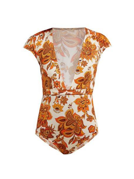 Dodo Bar Or - Esterika Floral Print Plunge Swimsuit - Womens - Cream Print