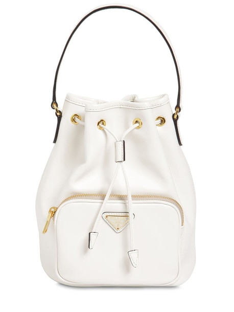 PRADA Saffiano & City Leather Bucket Bag in white
