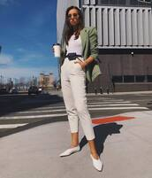 jacket,blazer,oversized,white pants,high waisted pants,ballet flats,white top,belt bag