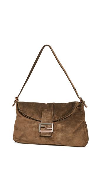 What Goes Around Comes Around Fendi Brown Suede Shoulder Bag
