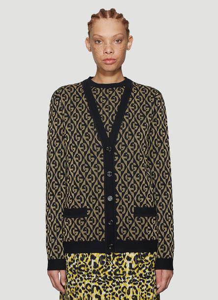 Gucci Metallic Knit Cardigan in Black size XS