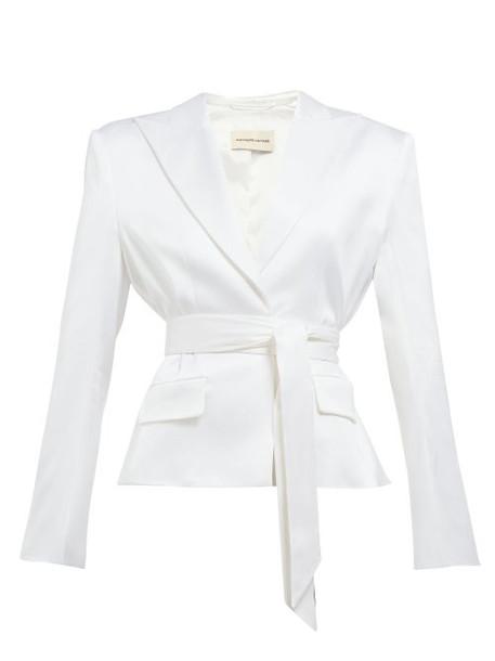 Alexandre Vauthier - Single Breasted Wrap Belt Satin Blazer - Womens - White