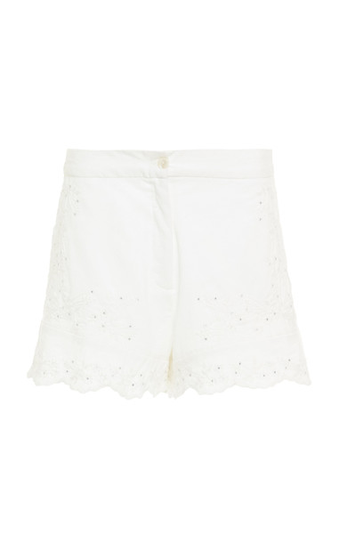 Juliet Dunn Embroidered High-Rise Cotton Short in white