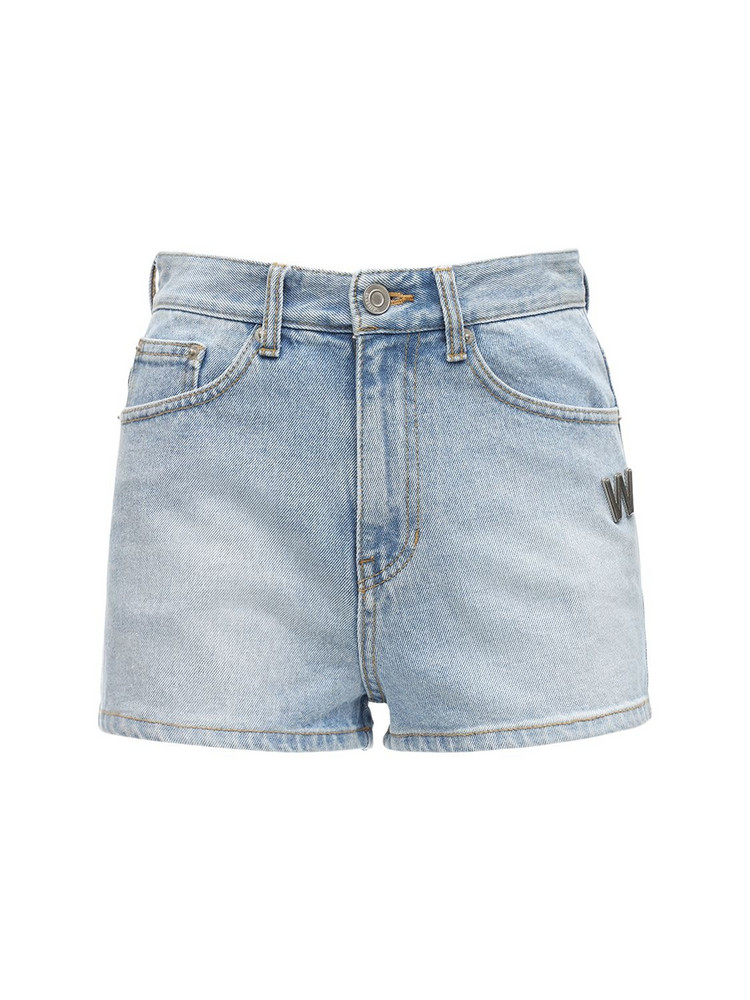 WE11 DONE Logo Cotton Denim Shorts in blue