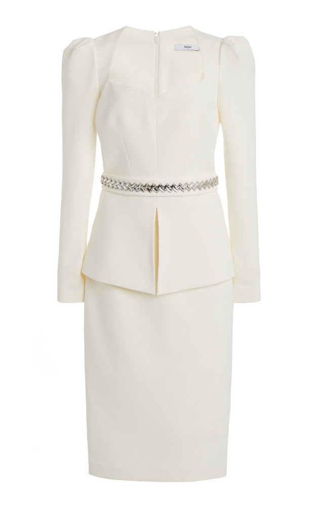 Safiyaa Exclusive Belted Heavy Crepe Cocktail Dress in white