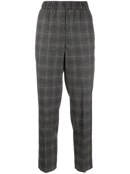 Peserico cropped checked trousers in brown