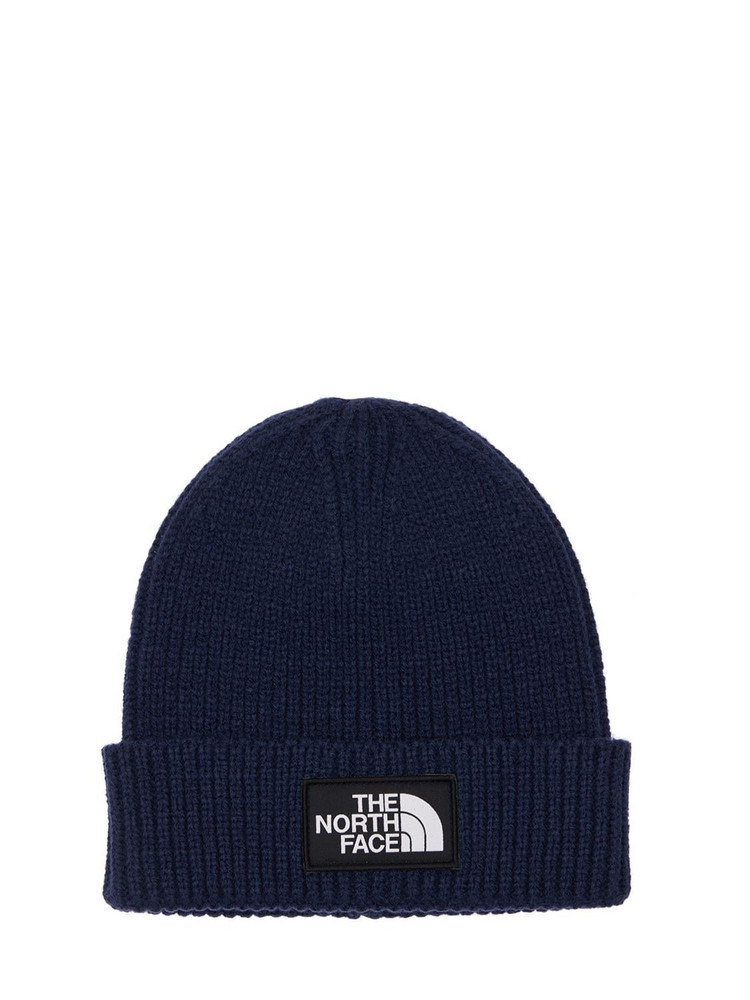 THE NORTH FACE Logo Acrylic Blend Knit Cuffed Beanie in navy