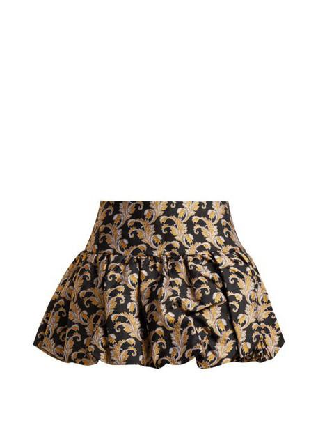 Marques'almeida - Foliage Jacquard Mini Skirt - Womens - Black Gold