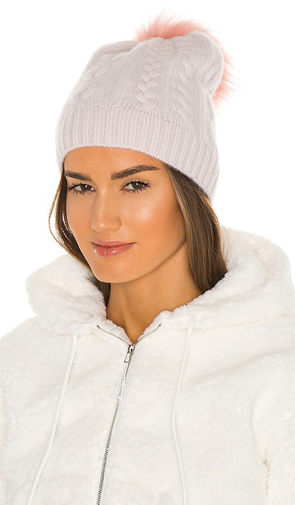 White + Warren White + Warren Cable Beanie With Faux Pom in Cream