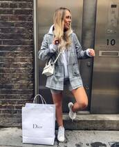 jacket,plaid blazer,double breasted,grey blazer,pretty little thing,grey shorts,white sneakers,hoodie,white bag